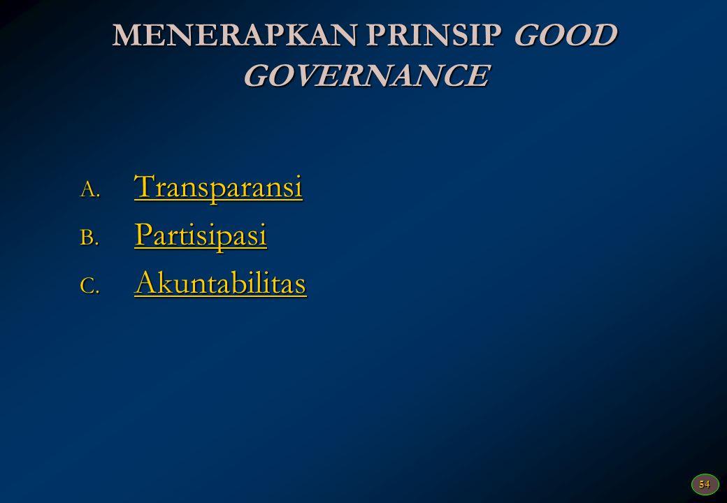 MENERAPKAN PRINSIP GOOD GOVERNANCE