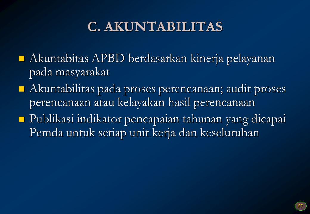 C. AKUNTABILITAS Akuntabitas APBD berdasarkan kinerja pelayanan pada masyarakat.