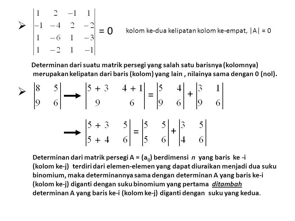 = 0 + = + = kolom ke-dua kelipatan kolom ke-empat, |A| = 0