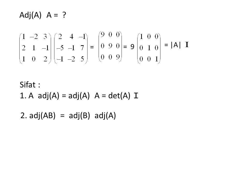 A adj(A) = adj(A) A = det(A) I