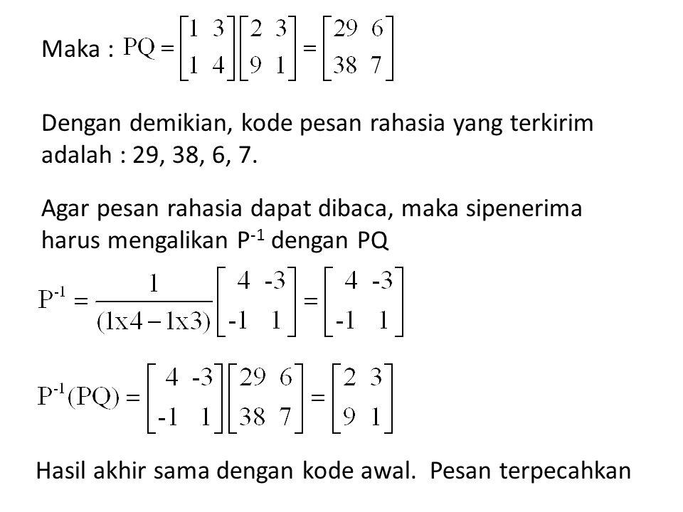 Maka : Dengan demikian, kode pesan rahasia yang terkirim adalah : 29, 38, 6, 7.