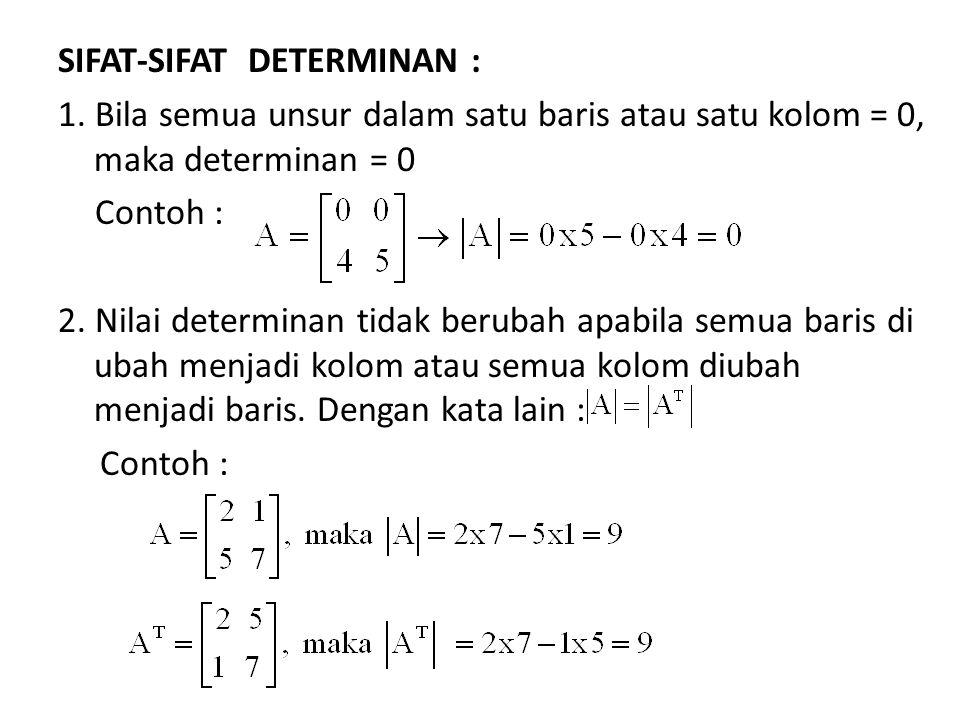SIFAT-SIFAT DETERMINAN : 1