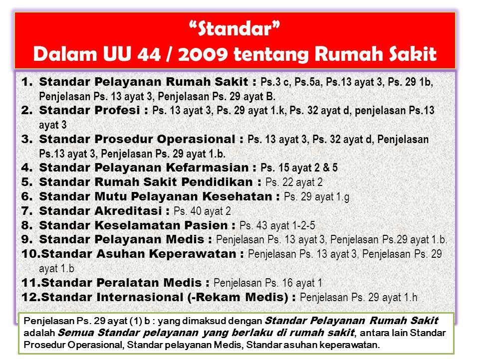Dalam UU 44 / 2009 tentang Rumah Sakit