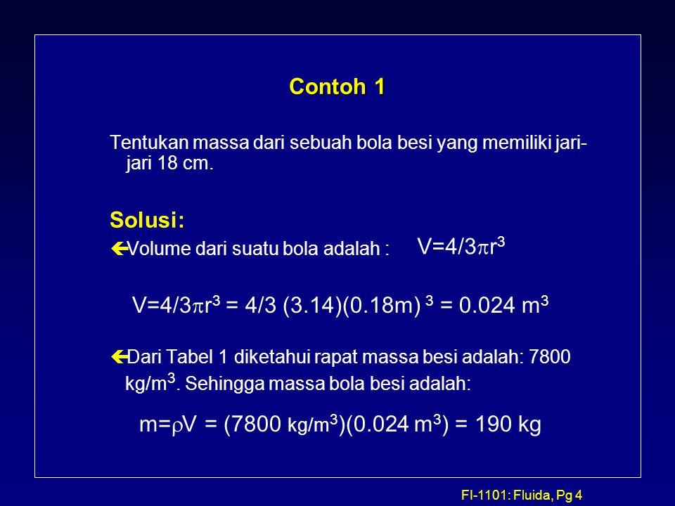 Contoh 1 Solusi: V=4/3pr3 V=4/3pr3 = 4/3 (3.14)(0.18m) 3 = 0.024 m3