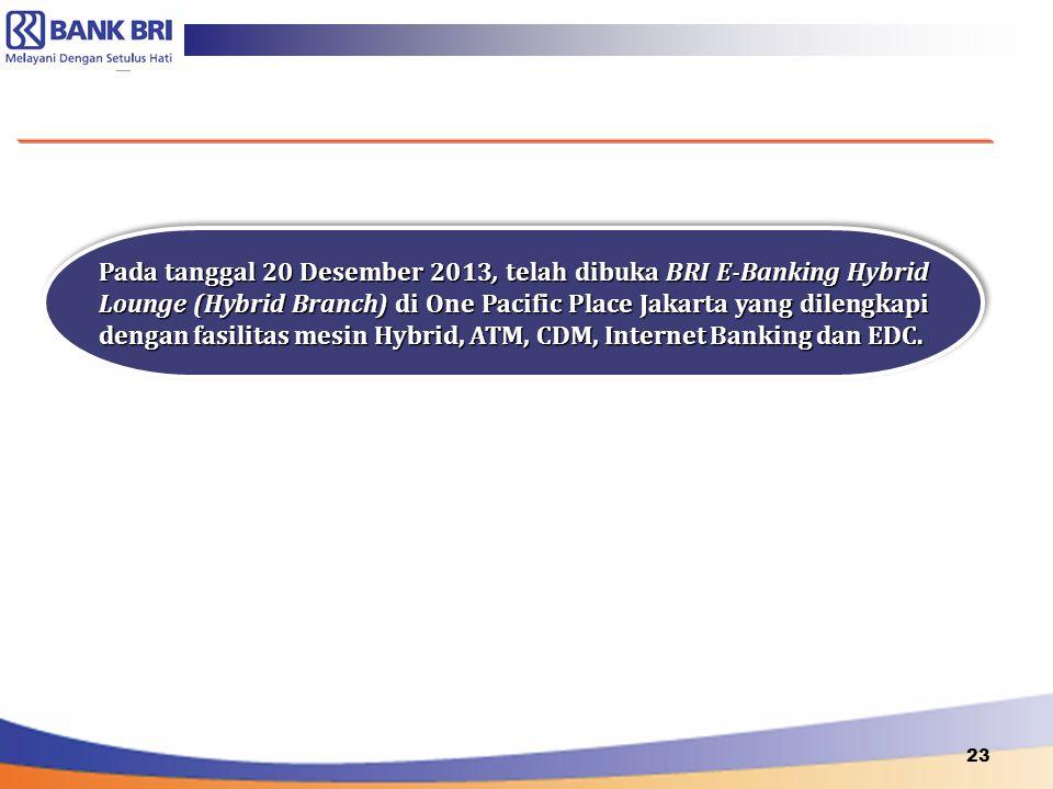 Pada tanggal 20 Desember 2013, telah dibuka BRI E-Banking Hybrid Lounge (Hybrid Branch) di One Pacific Place Jakarta yang dilengkapi dengan fasilitas mesin Hybrid, ATM, CDM, Internet Banking dan EDC.
