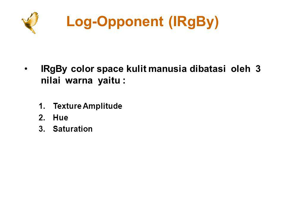 Log-Opponent (IRgBy) IRgBy color space kulit manusia dibatasi oleh 3 nilai warna yaitu : Texture Amplitude.