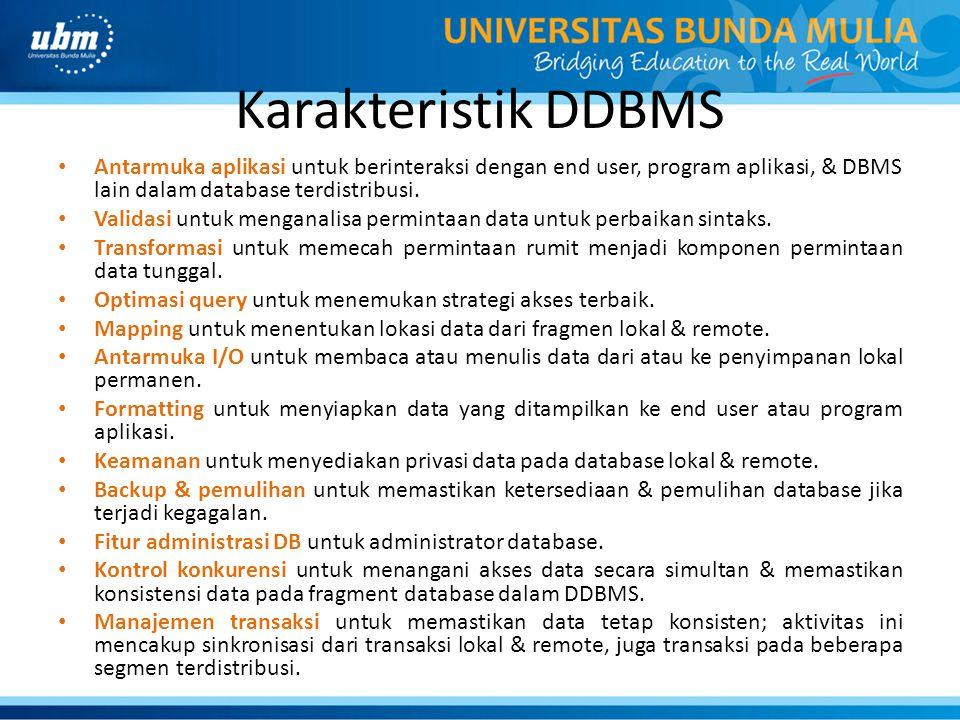 Karakteristik DDBMS Antarmuka aplikasi untuk berinteraksi dengan end user, program aplikasi, & DBMS lain dalam database terdistribusi.
