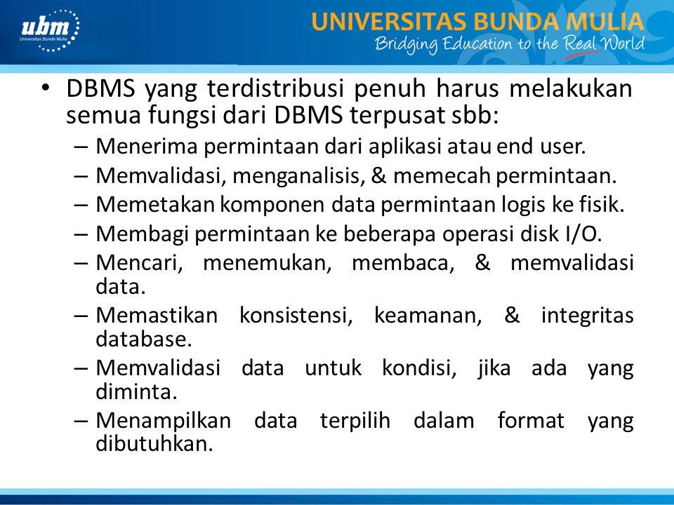 DBMS yang terdistribusi penuh harus melakukan semua fungsi dari DBMS terpusat sbb: