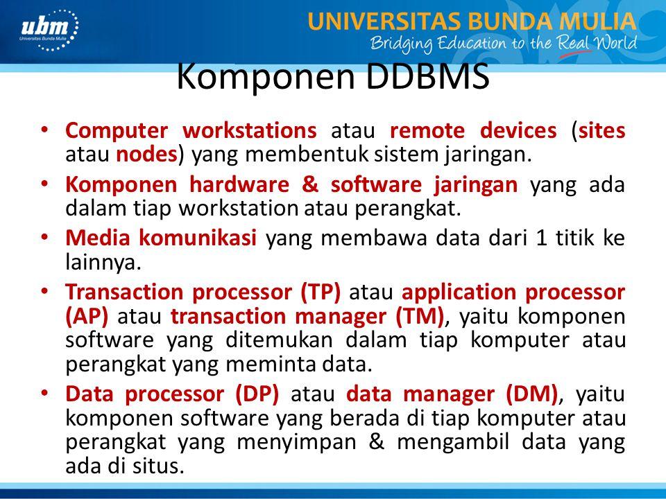 Komponen DDBMS Computer workstations atau remote devices (sites atau nodes) yang membentuk sistem jaringan.
