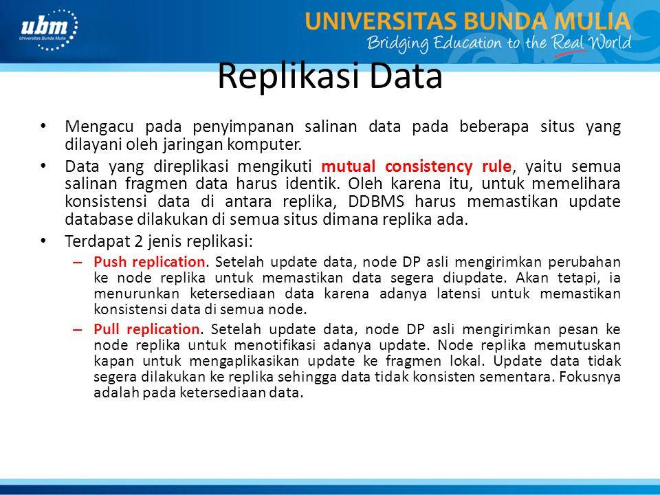 Replikasi Data Mengacu pada penyimpanan salinan data pada beberapa situs yang dilayani oleh jaringan komputer.