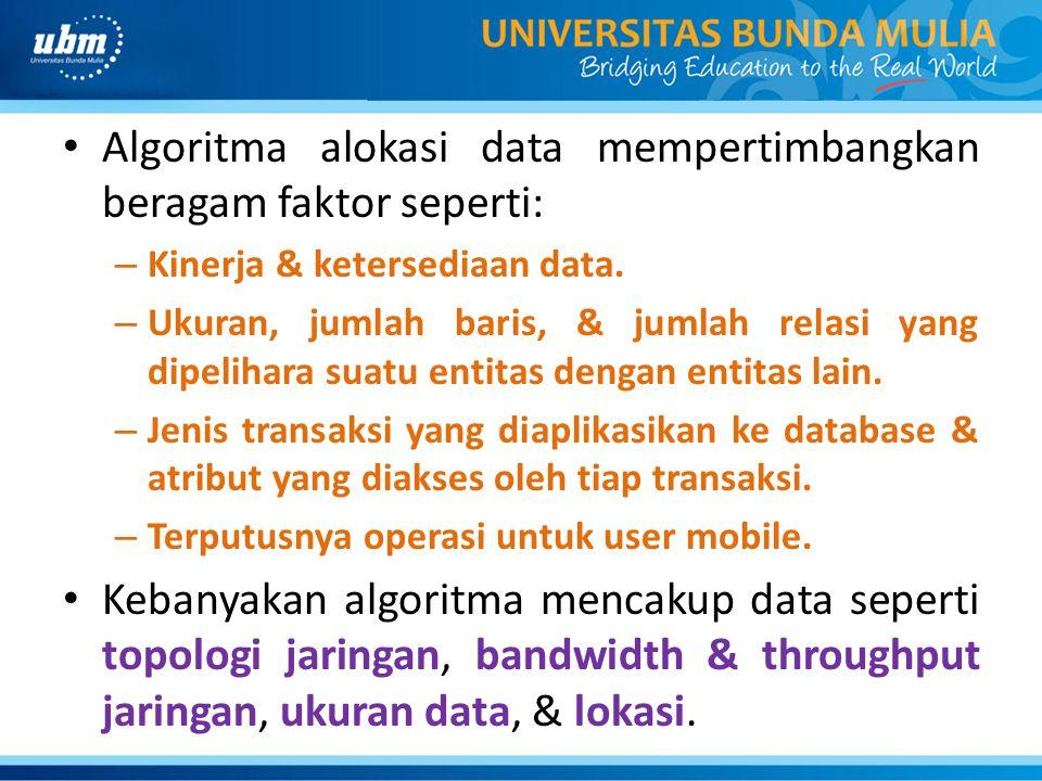Algoritma alokasi data mempertimbangkan beragam faktor seperti: