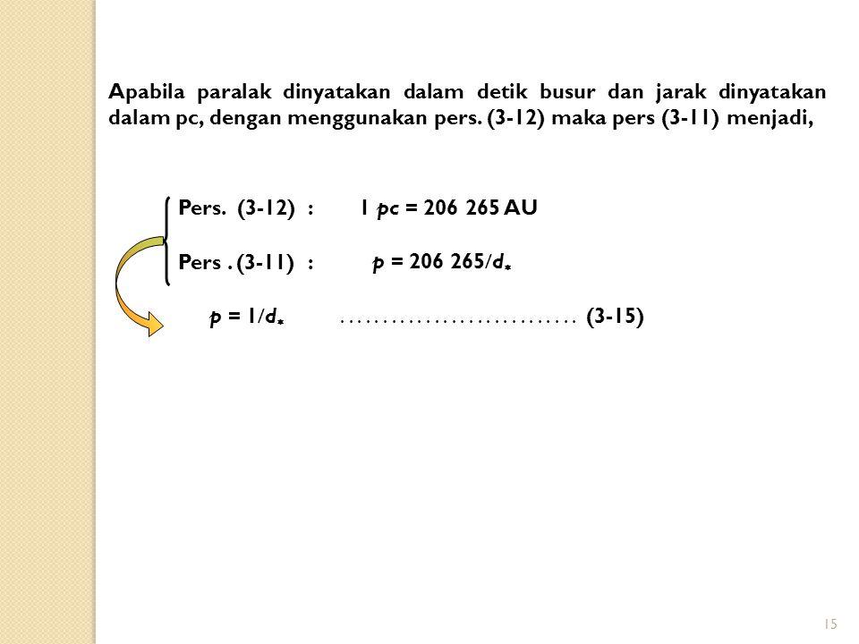 Apabila paralak dinyatakan dalam detik busur dan jarak dinyatakan dalam pc, dengan menggunakan pers. (3-12) maka pers (3-11) menjadi,