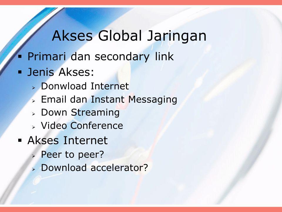 Akses Global Jaringan Primari dan secondary link Jenis Akses: