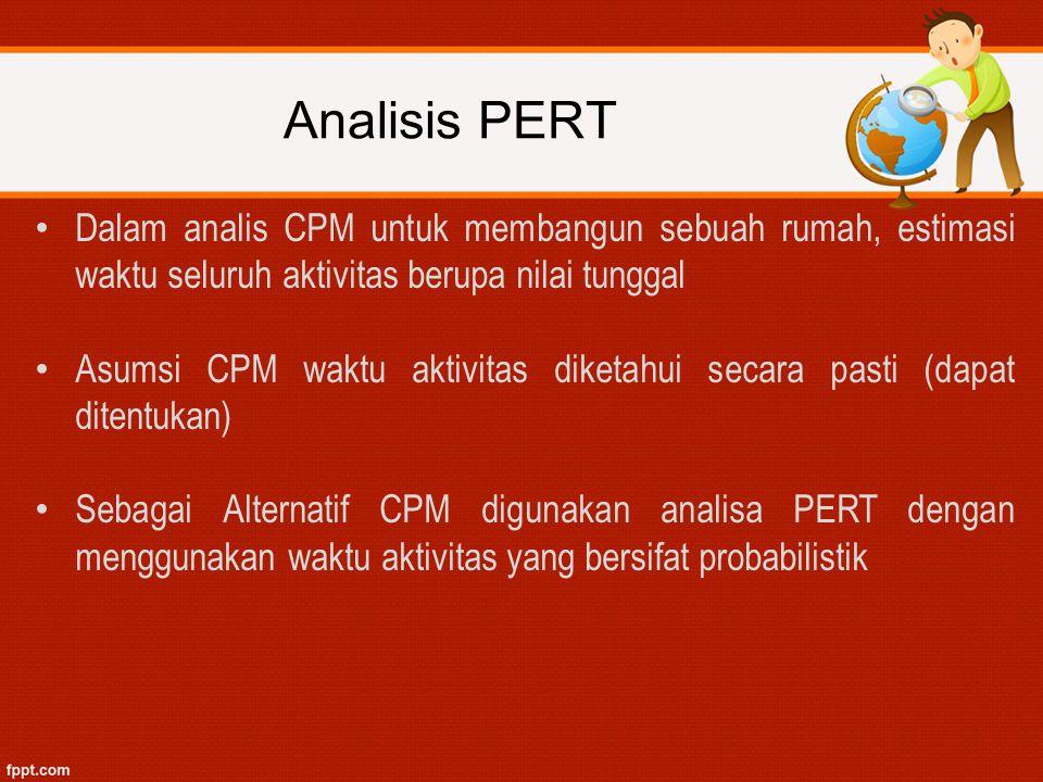 Analisis PERT Dalam analis CPM untuk membangun sebuah rumah, estimasi waktu seluruh aktivitas berupa nilai tunggal.