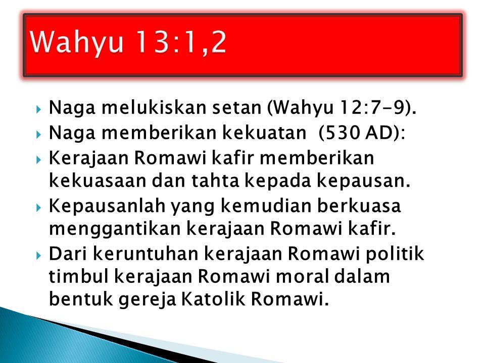 Wahyu 13:1,2 Naga melukiskan setan (Wahyu 12:7-9).