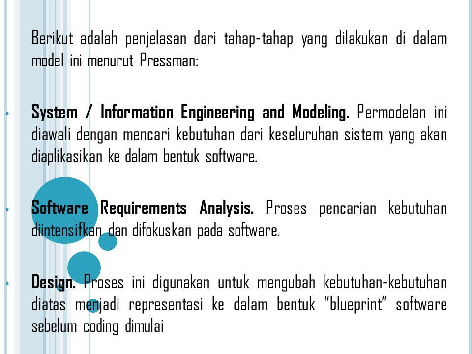 Berikut adalah penjelasan dari tahap-tahap yang dilakukan di dalam model ini menurut Pressman:
