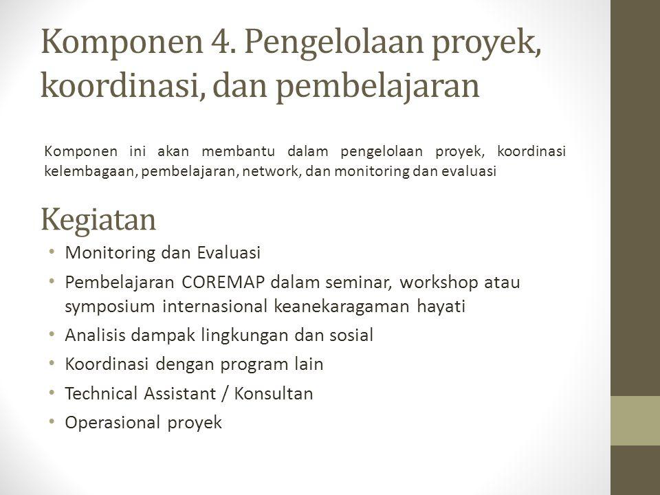 Komponen 4. Pengelolaan proyek, koordinasi, dan pembelajaran