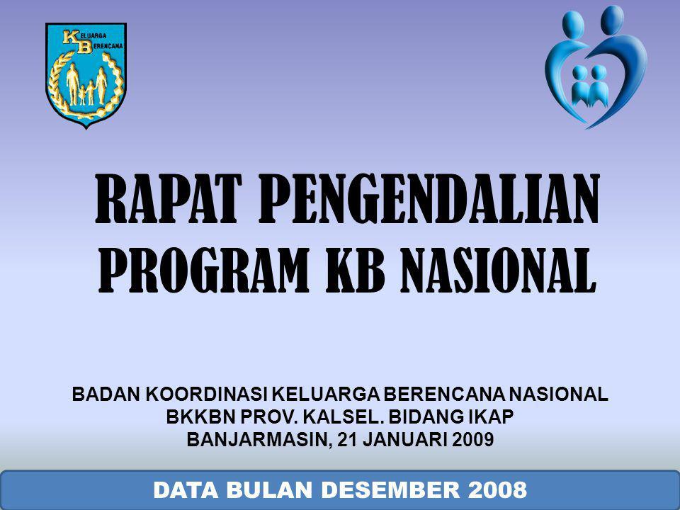 RAPAT PENGENDALIAN PROGRAM KB NASIONAL DATA BULAN DESEMBER 2008