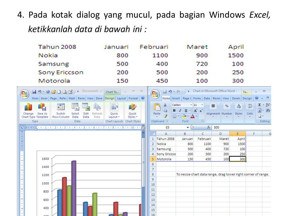 4. Pada kotak dialog yang mucul, pada bagian Windows Excel, ketikkanlah data di bawah ini :