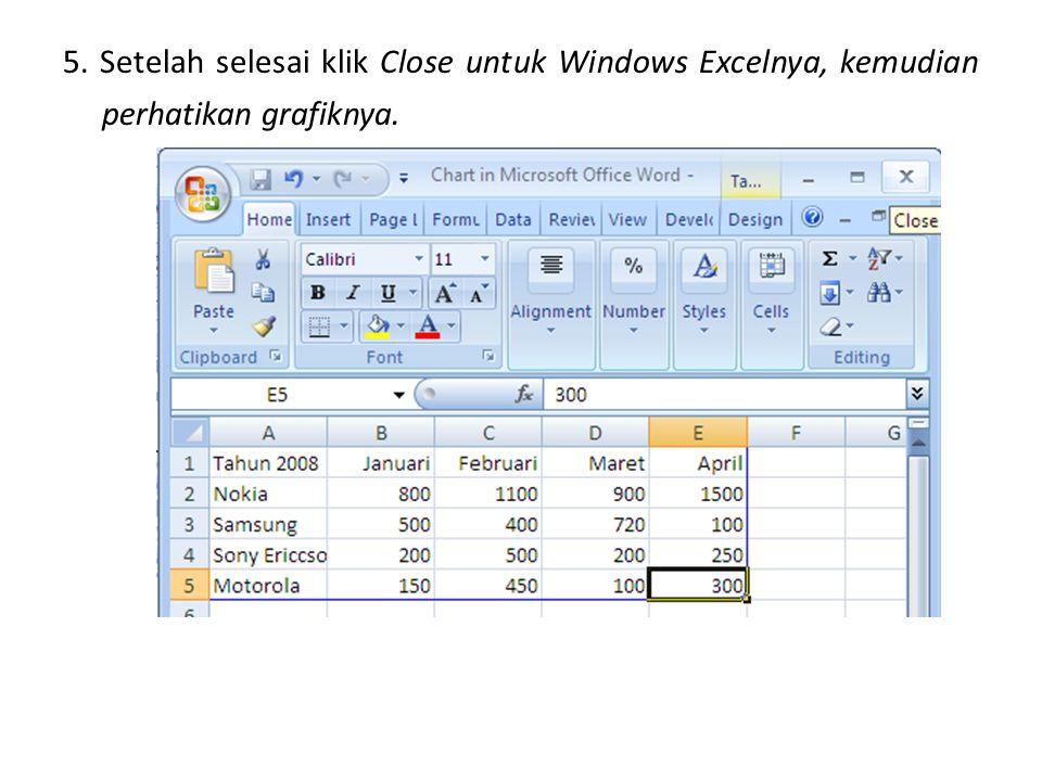 5. Setelah selesai klik Close untuk Windows Excelnya, kemudian perhatikan grafiknya.