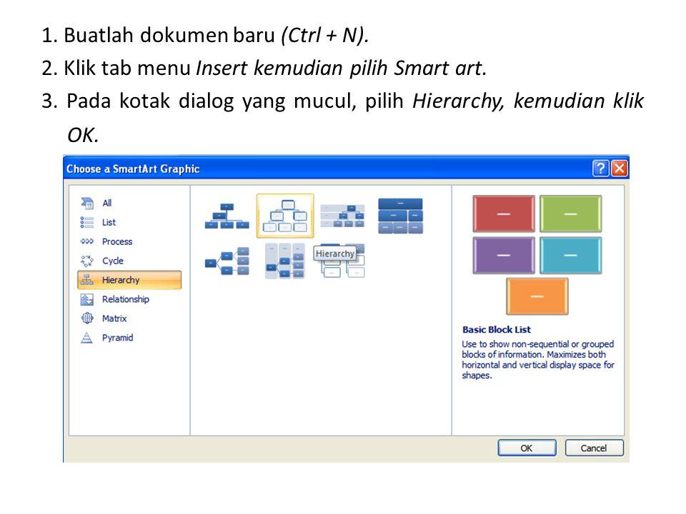 1. Buatlah dokumen baru (Ctrl + N).