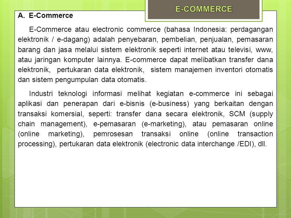 E-COMMERCE E-Commerce