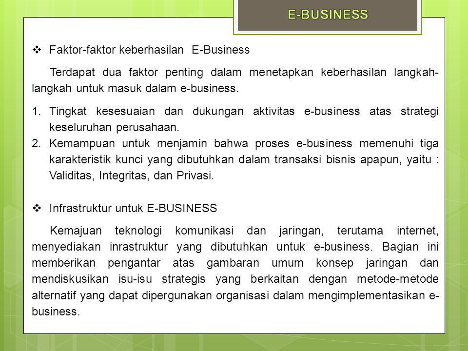E-BUSINESS Faktor-faktor keberhasilan E-Business
