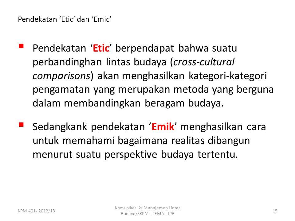 Pendekatan 'Etic' dan 'Emic'