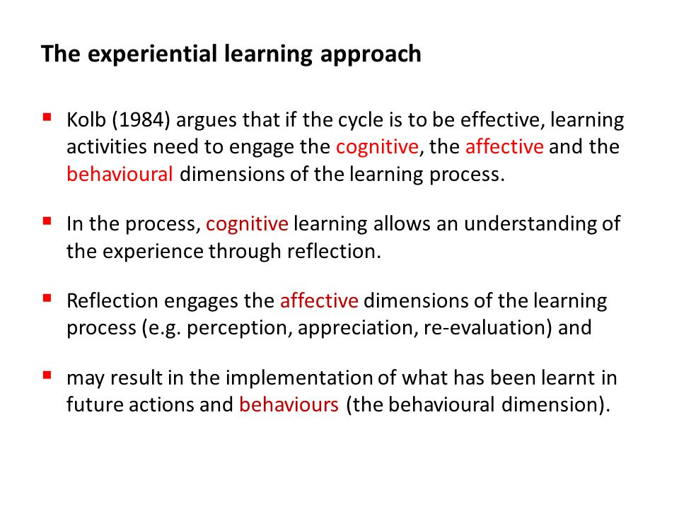 The experiential learning approach
