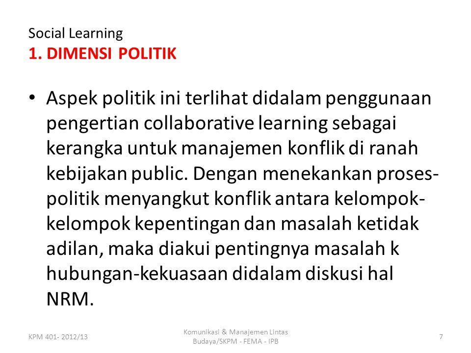 Social Learning 1. DIMENSI POLITIK