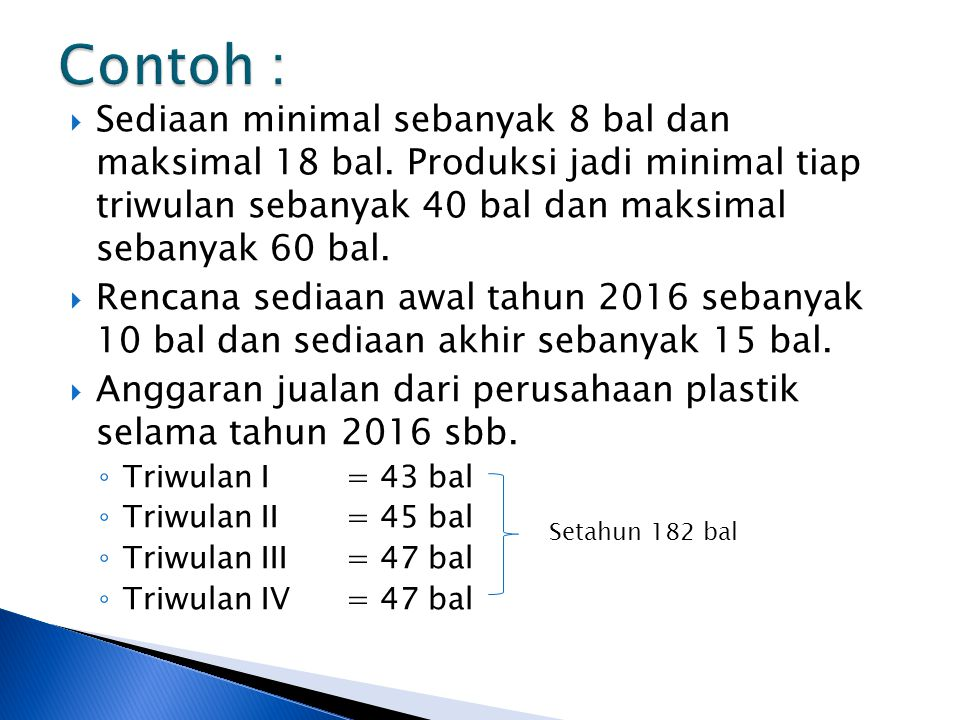 Contoh : Sediaan minimal sebanyak 8 bal dan maksimal 18 bal. Produksi jadi minimal tiap triwulan sebanyak 40 bal dan maksimal sebanyak 60 bal.