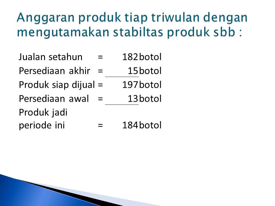 Anggaran produk tiap triwulan dengan mengutamakan stabiltas produk sbb :
