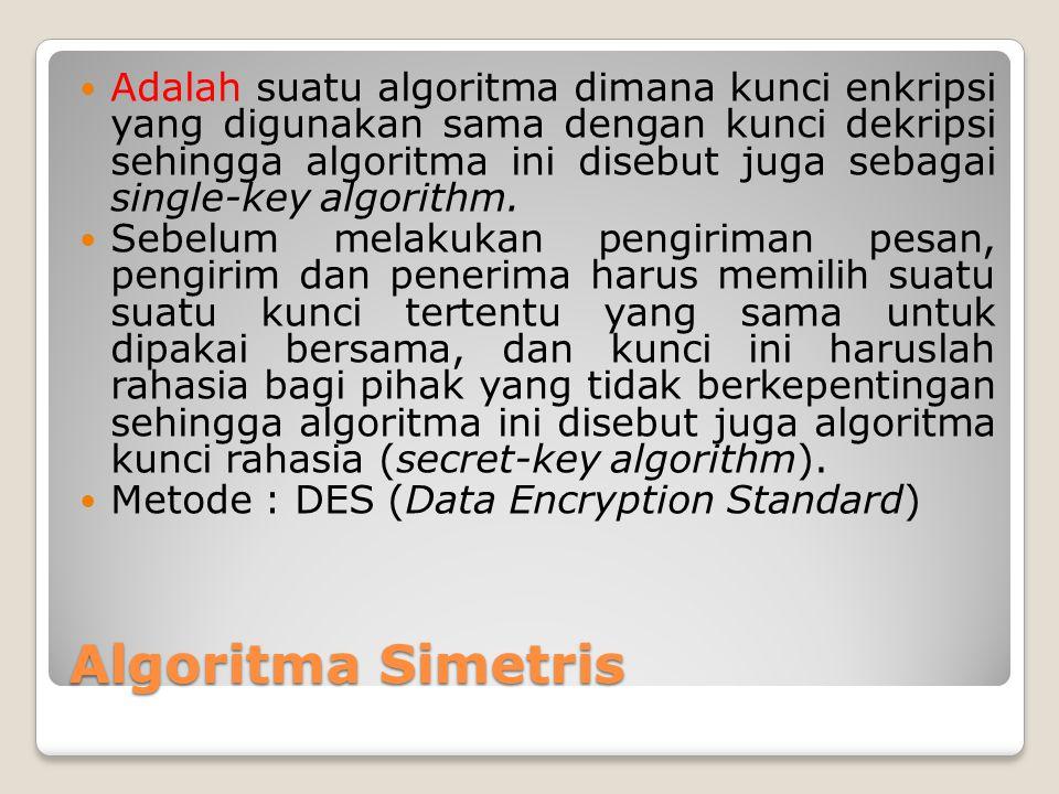 Adalah suatu algoritma dimana kunci enkripsi yang digunakan sama dengan kunci dekripsi sehingga algoritma ini disebut juga sebagai single-key algorithm.
