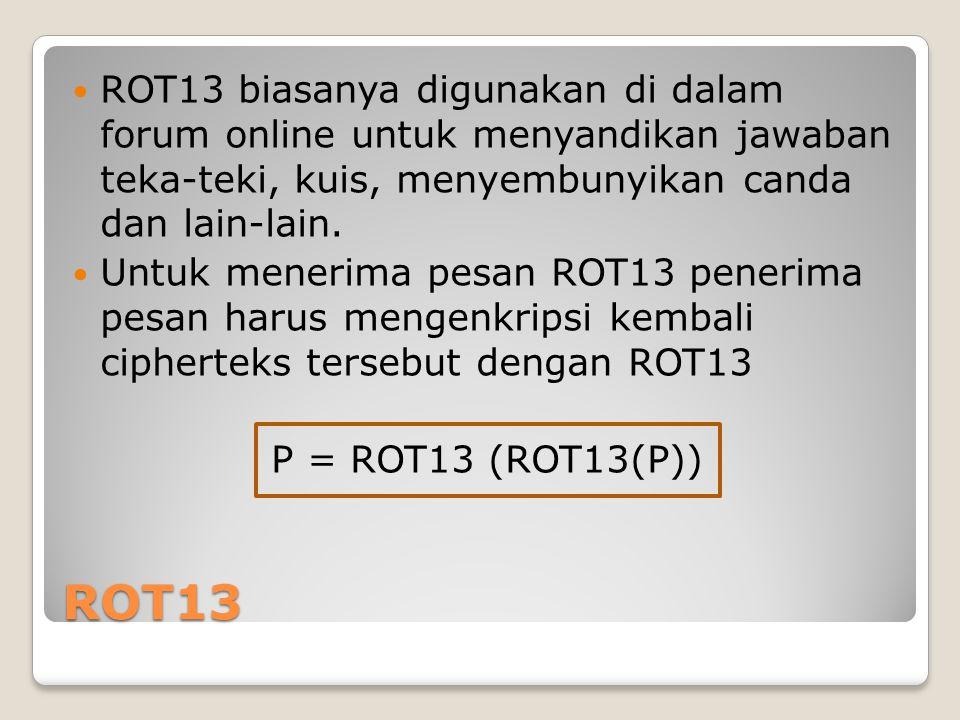 ROT13 biasanya digunakan di dalam forum online untuk menyandikan jawaban teka-teki, kuis, menyembunyikan canda dan lain-lain.