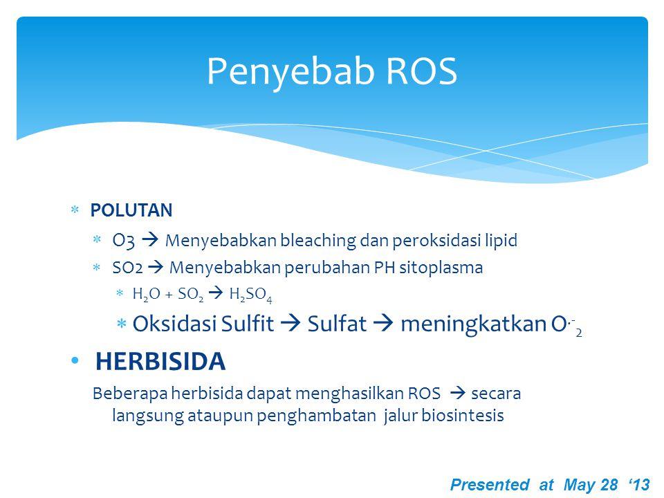 Penyebab ROS HERBISIDA Oksidasi Sulfit  Sulfat  meningkatkan O.-2
