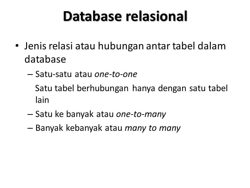 Database relasional Jenis relasi atau hubungan antar tabel dalam database. Satu-satu atau one-to-one.