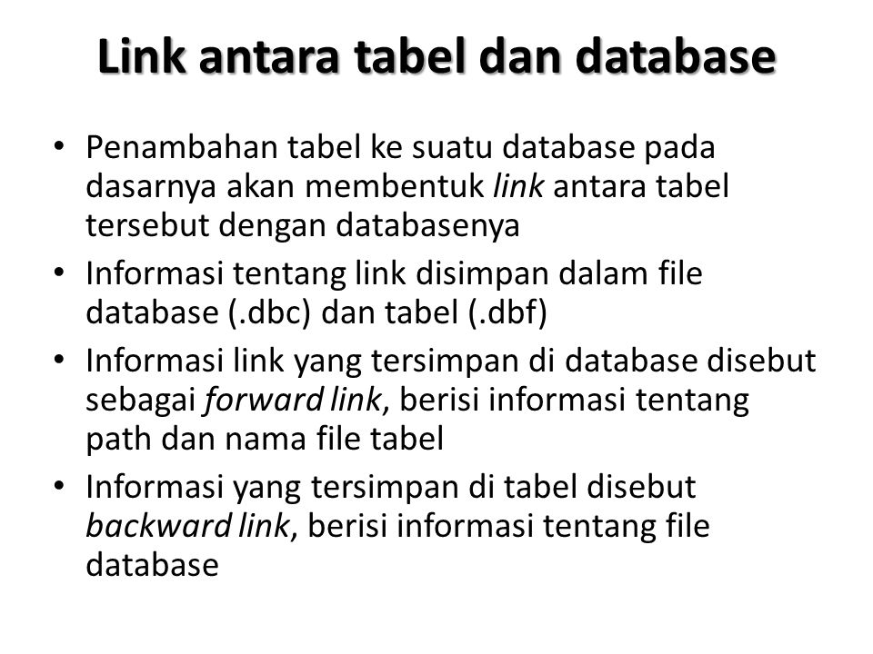 Link antara tabel dan database