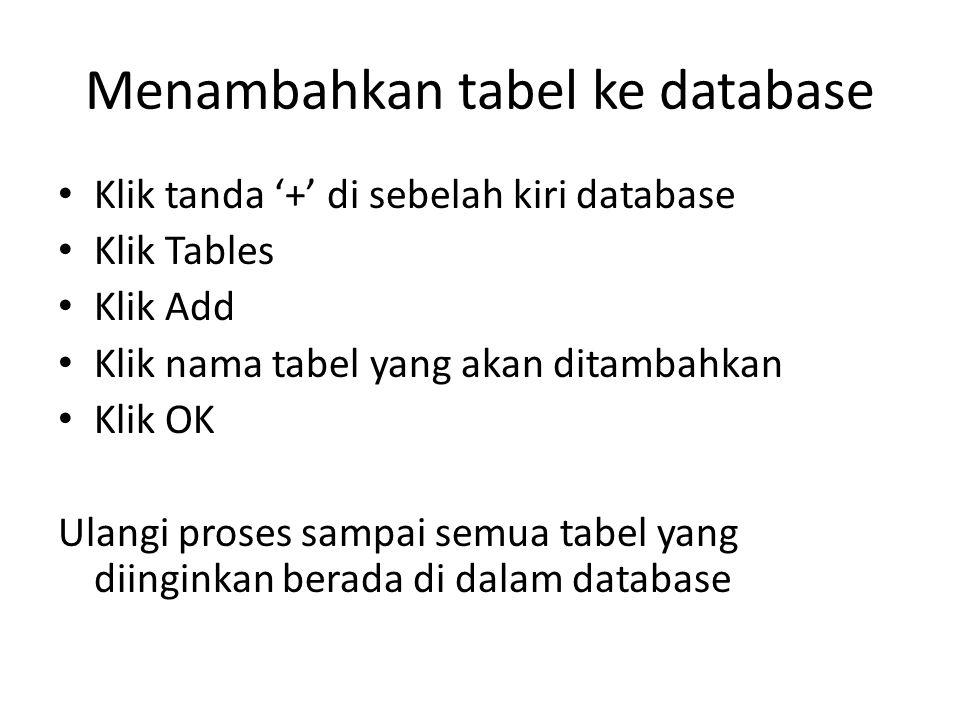 Menambahkan tabel ke database