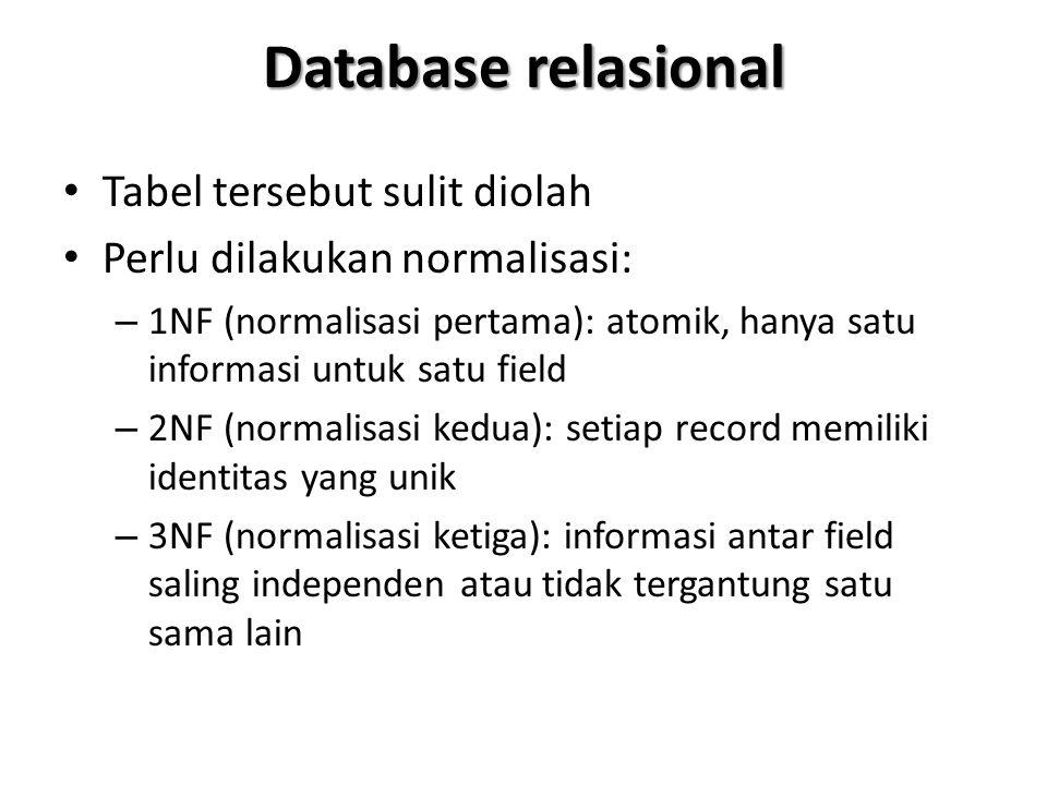 Database relasional Tabel tersebut sulit diolah