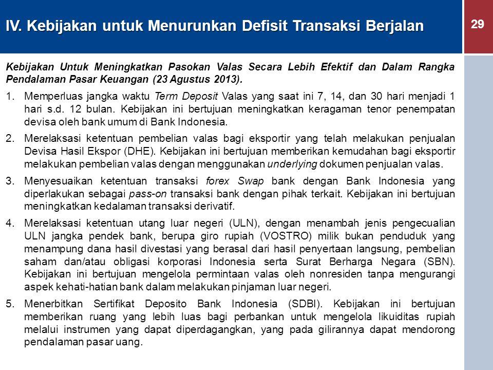 IV. Kebijakan untuk Menurunkan Defisit Transaksi Berjalan