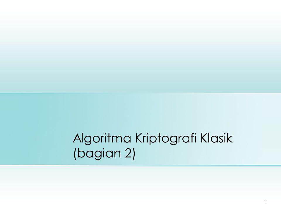 Algoritma Kriptografi Klasik (bagian 2)