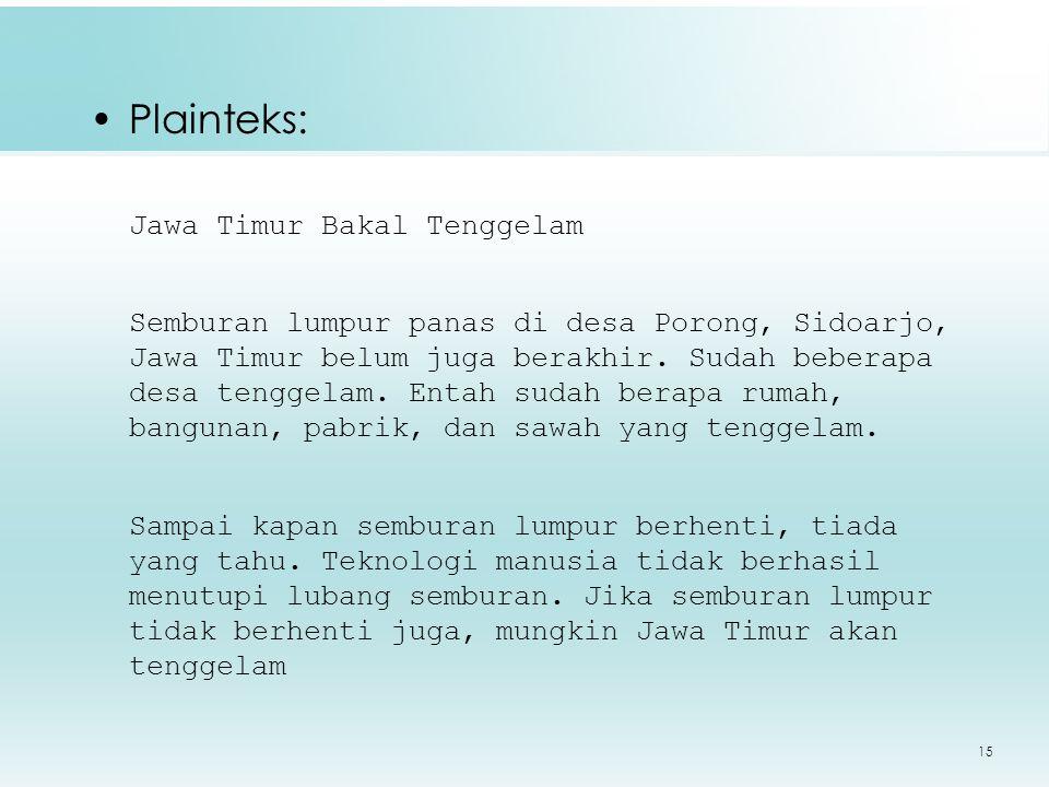 Plainteks: Jawa Timur Bakal Tenggelam
