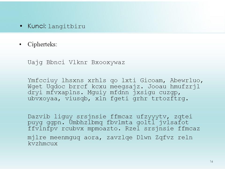Kunci: langitbiru Cipherteks: Uajg Bbnci Vlknr Bxooxywaz.