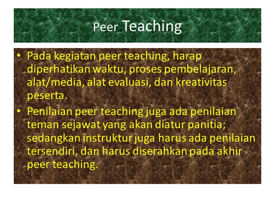 Peer Teaching Pada kegiatan peer teaching, harap diperhatikan waktu, proses pembelajaran, alat/media, alat evaluasi, dan kreativitas peserta.