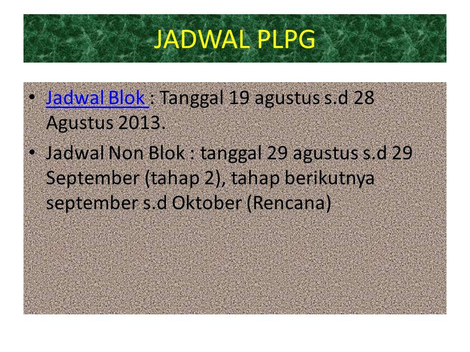 JADWAL PLPG Jadwal Blok : Tanggal 19 agustus s.d 28 Agustus 2013.