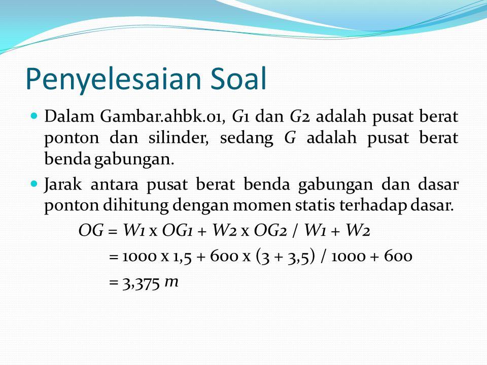 Penyelesaian Soal Dalam Gambar.ahbk.01, G1 dan G2 adalah pusat berat ponton dan silinder, sedang G adalah pusat berat benda gabungan.