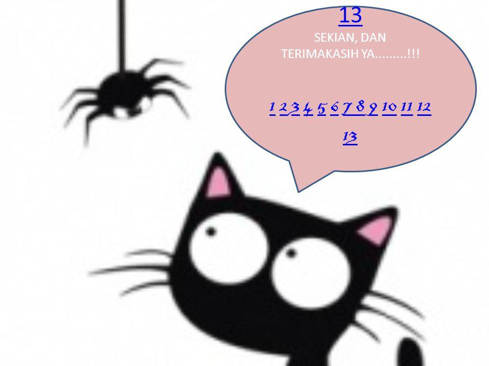 13 SEKIAN, DAN TERIMAKASIH YA.........!!! 1 2 3 4 5 6 7 8 9 10 11 12 13