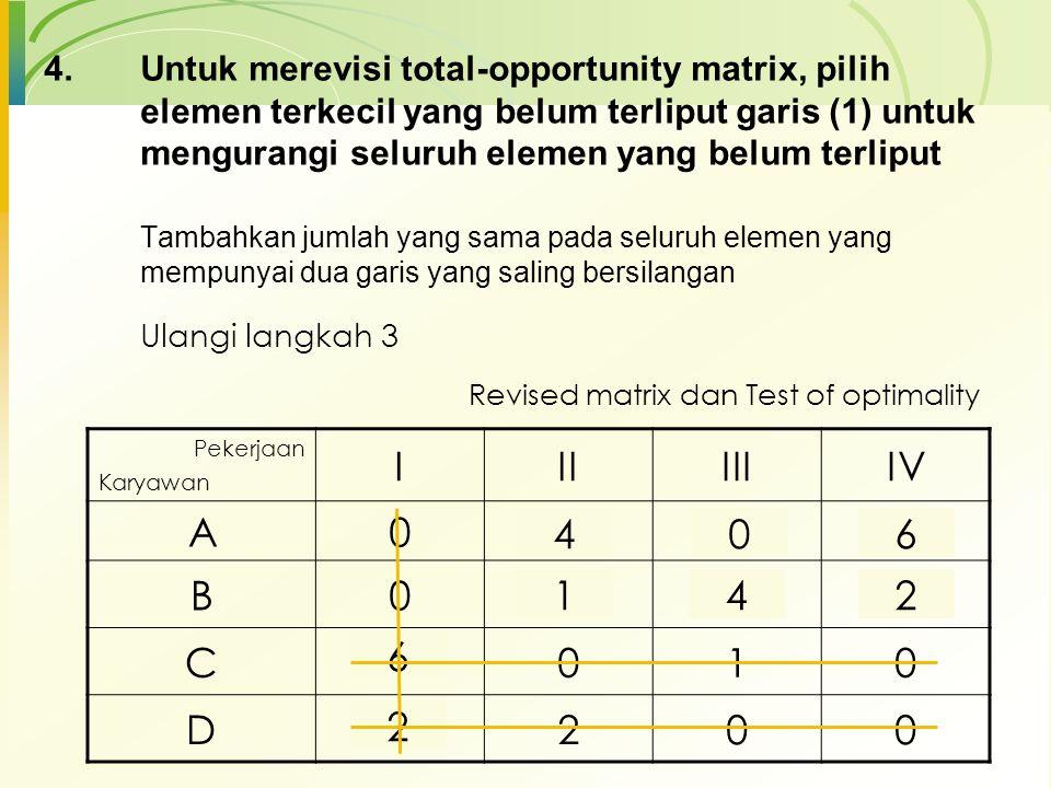 Untuk merevisi total-opportunity matrix, pilih elemen terkecil yang belum terliput garis (1) untuk mengurangi seluruh elemen yang belum terliput