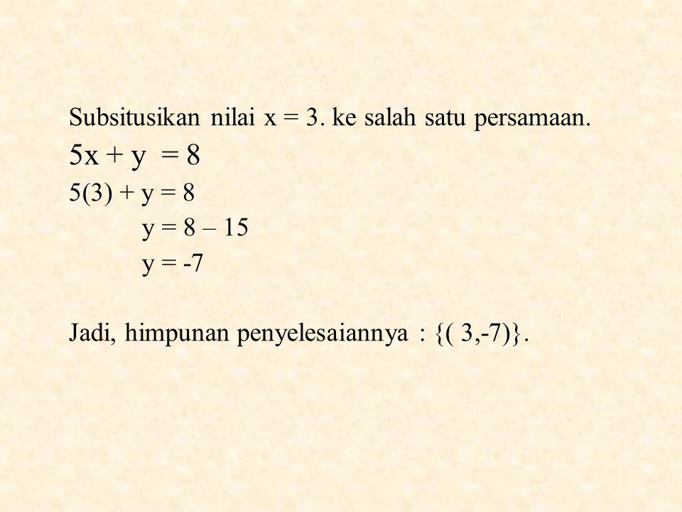5x + y = 8 Subsitusikan nilai x = 3. ke salah satu persamaan.
