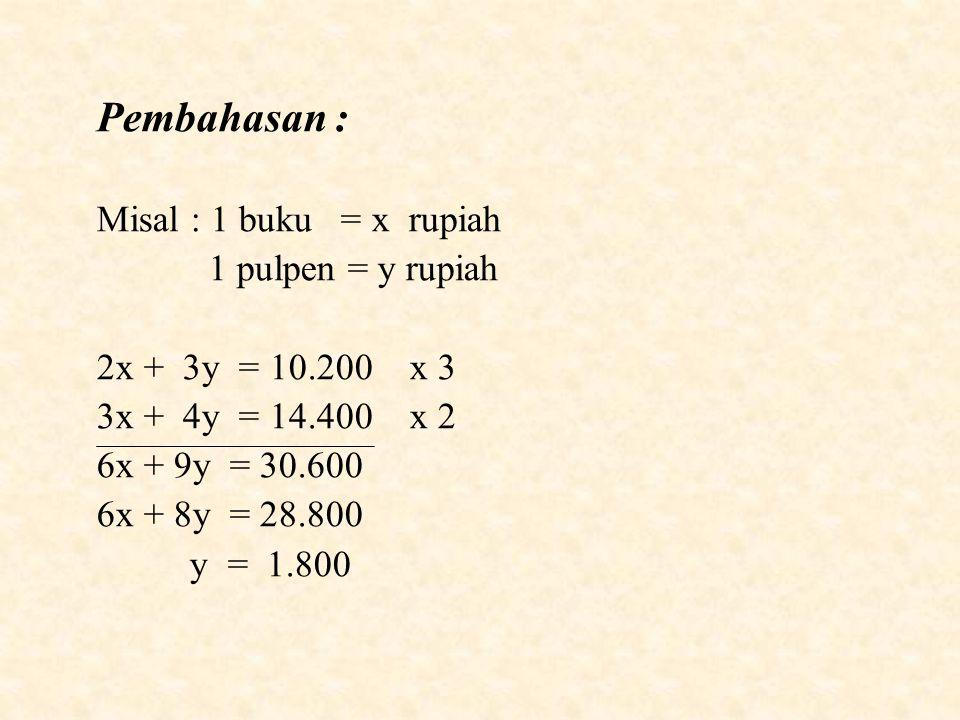 Pembahasan : Misal : 1 buku = x rupiah 1 pulpen = y rupiah